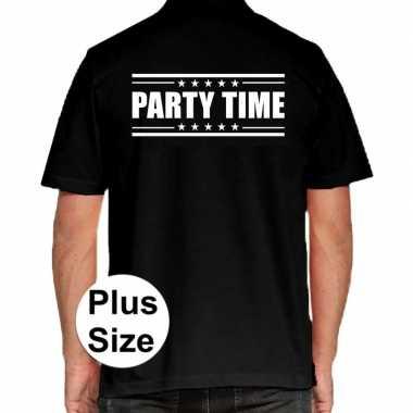 Grote maten party time polo shirt zwart voor heren