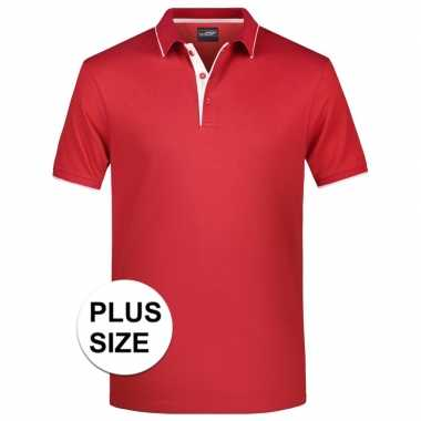 Grote maten plus size polo t-shirt high quality rood/wit voor heren