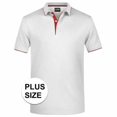 Grote maten plus size polo t-shirt high quality wit/rood voor heren