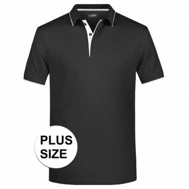 Grote maten plus size polo t-shirt high quality zwart/wit voor heren