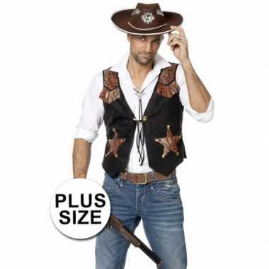 Grote maten plus size zwarte cowboy vest voor heren