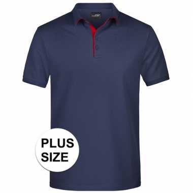 Grote maten polo t-shirt high quality navy voor heren