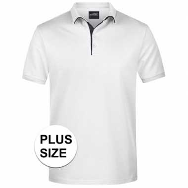 Grote maten polo t-shirt high quality wit voor heren