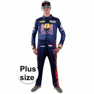 Grote maten race coureur verkleed kostuum voor heren