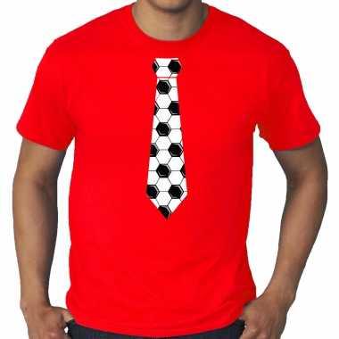 Grote maten rood supporter t-shirt voetbal stropdas ek/ wk voor heren