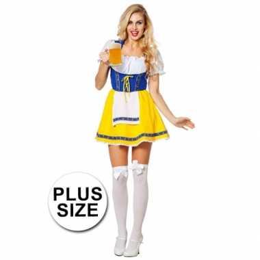 Grote maten Tiroler jurk blauw/geel