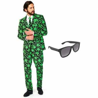 Grote maten verkleed cannabis print net heren kostuum maat 56 xxxl met gratis zonnebril