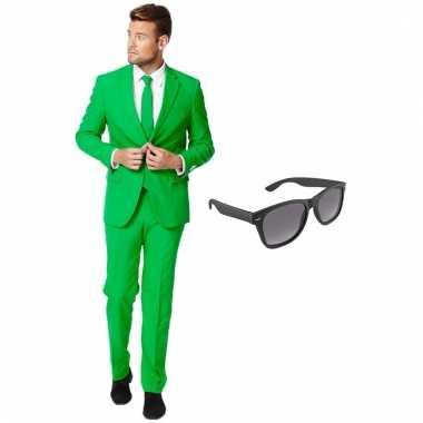 Grote maten verkleed groen net heren kostuum maat 56 xxxl met gratis zonnebril
