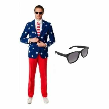 Grote maten verkleed met amerikaanse vlag print heren kostuum maat 54 2xl met gratis zonnebril