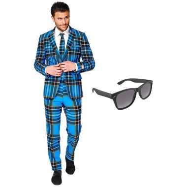 Grote maten verkleed schotse print net heren kostuum maat 56 xxxl met gratis zonnebril