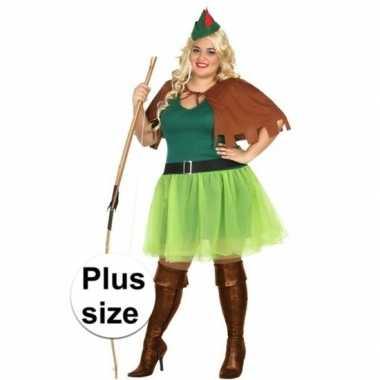 Grote maten verkleedkleding robin hood kostuum xxl voor dames 4-delig