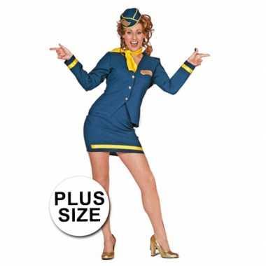 Grote maten verkleedkleding stewardess
