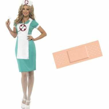 Grote maten voordelig verpleegster verkleed kostuum maat 44/46 met gr