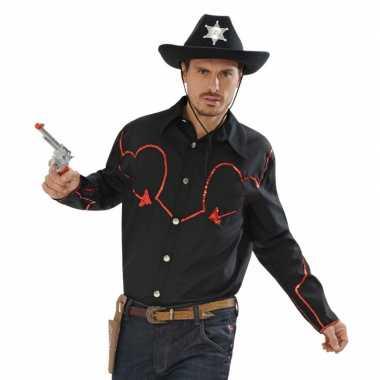 Grote maten zwart cowboy overhemd met rode afwerking