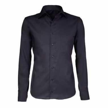 Heren Overhemd Zwart.Grote Maten Zwart Heren Overhemd Met Extra Lange Mouwen Kleding