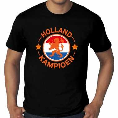 Grote maten zwart t-shirt holland / nederland supporter holland kampioen met leeuw ek/ wk voor heren