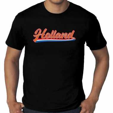 Grote maten zwart t-shirt holland / nederland supporter holland met nederlandse wimpel ek/wk heren