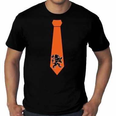 Grote maten zwart t-shirt holland / nederland supporter oranje leeuw stropdas ek/ wk voor heren