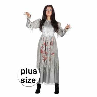 Maten grijze jurk grote maat met bloed voor dames