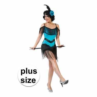 Maten grote maat blauw/zwart jaren 20 jurkje voor dames