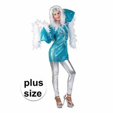 Maten grote maat blauwe 70s disco verkleedkleding jurk voor dames