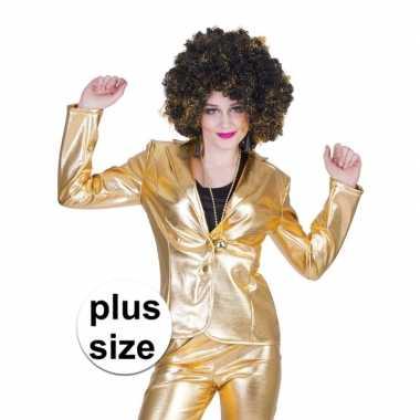 Maten grote maat gouden 70s disco verkleedkleding jasje voor dames
