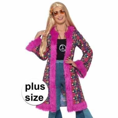 Maten grote maat hippie peace pluche jas voor dames ...
