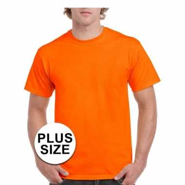 Maten grote maat katoenen t-shirt oranje voor volwassenen
