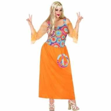 Maten grote maat oranje flower power jurk voor dames