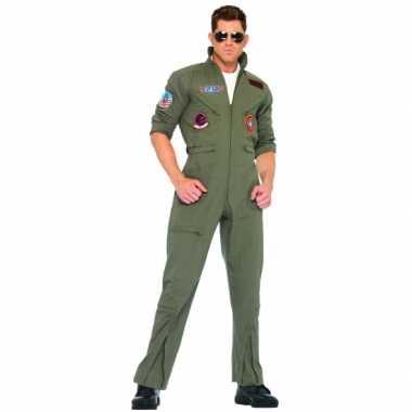 Maten  Grote maat piloten overall legergroen voor volwassenen