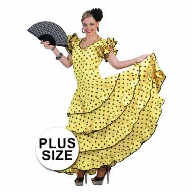 5b16a132a6d Maten Grote maat verkleedkleding gele flamencojurk | Kleding-grote ...