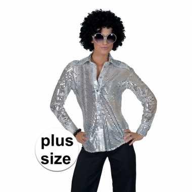 Maten grote maat zilveren 70s disco verkleedkleding blouse voor dames