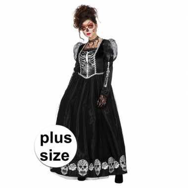 Maten grote maat zwarte jurk met schedels voor dames