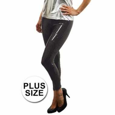 Maten grote maat zwarte leggings met pailletten