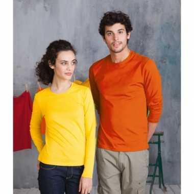 Maten grote oranje t-shirts lange mouwen