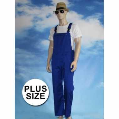 Maten grote verkleed tuinbroek blauw voor volwassenen