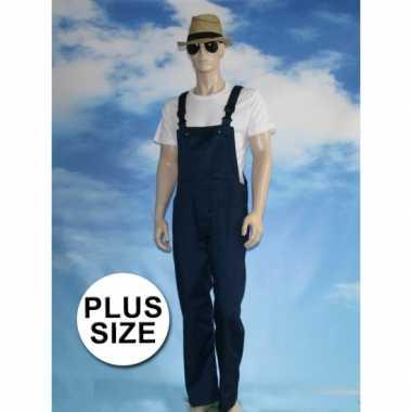 Maten grote verkleed tuinbroek navy voor volwassenen