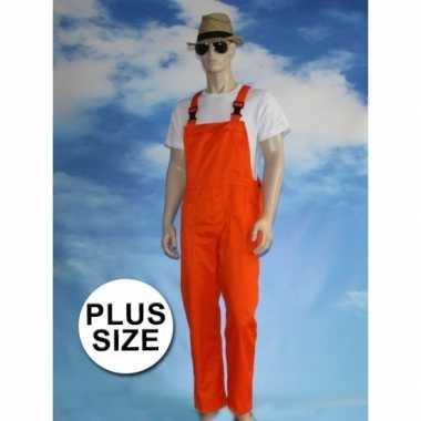 Maten grote verkleed tuinbroek oranje voor volwassenen