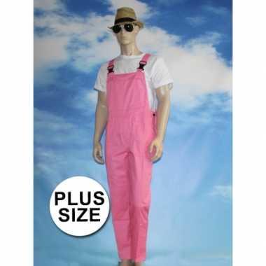 Maten grote verkleed tuinbroek roze voor volwassenen