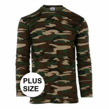 Maten lange mouwen shirt camouflage grote maat