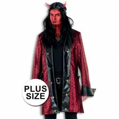 Maten  Lange verkleed jas duivel grote maat