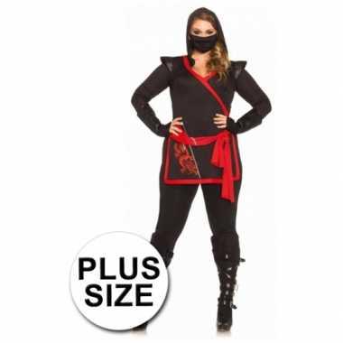 Maten  Ninja dames kostuum 4 delig grote maat