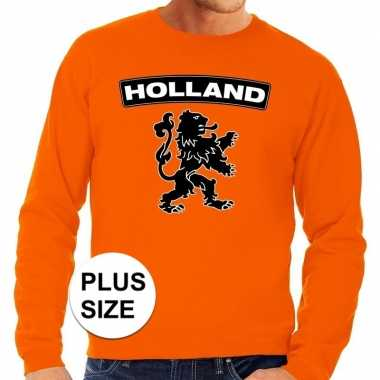 Oranje holland leeuw grote maten sweater / trui heren