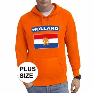 Oranje holland vlag grote maten sweater / trui heren