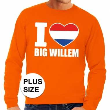 Oranje i love big willem grote maten sweater / trui heren