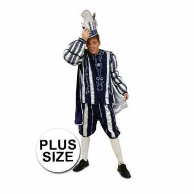 Prins carnaval pak blauw/wit grote maten
