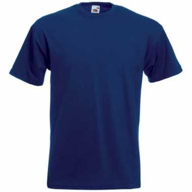 Set van 2x stuks grote maten donker blauwe t-shirts met korte mouwen voor heren, maat: 4xl (48/60)