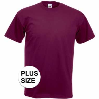 Set van 2x stuks grote maten donker rode t-shirts met korte mouwen voor heren, maat: 3xl (46/58)