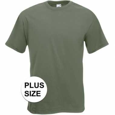 Set van 3x stuks grote maten olijf groene t-shirts met korte mouwen voor heren, maat: 3xl (46/58)