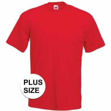 Set van 3x stuks grote maten rode t-shirts met korte mouwen voor heren, maat: 3xl (46/58)